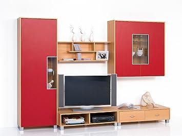 Wohnwand Anbauwand Schrankwand Buche Rot   Breite 256 Cm