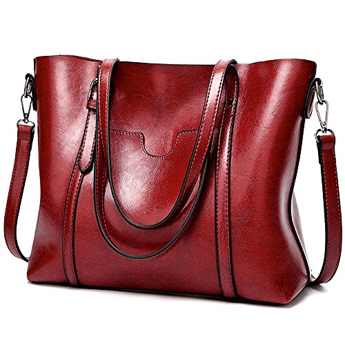 UTO Women Tote Bag Soft PU Leather Shoulder Bags Large Capacity Shopper Handbag Red