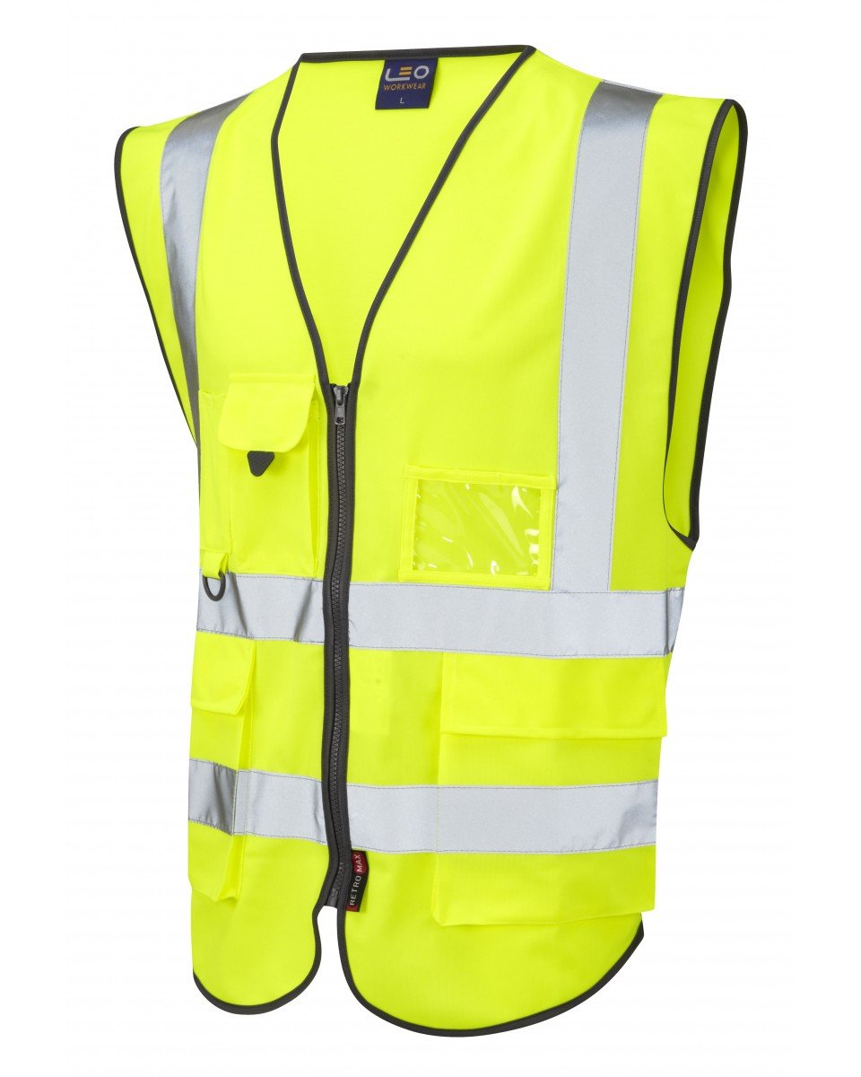 L Plate High Vis Exec Motorcycle Vest with a Zip Various Sizes (XL) Leo