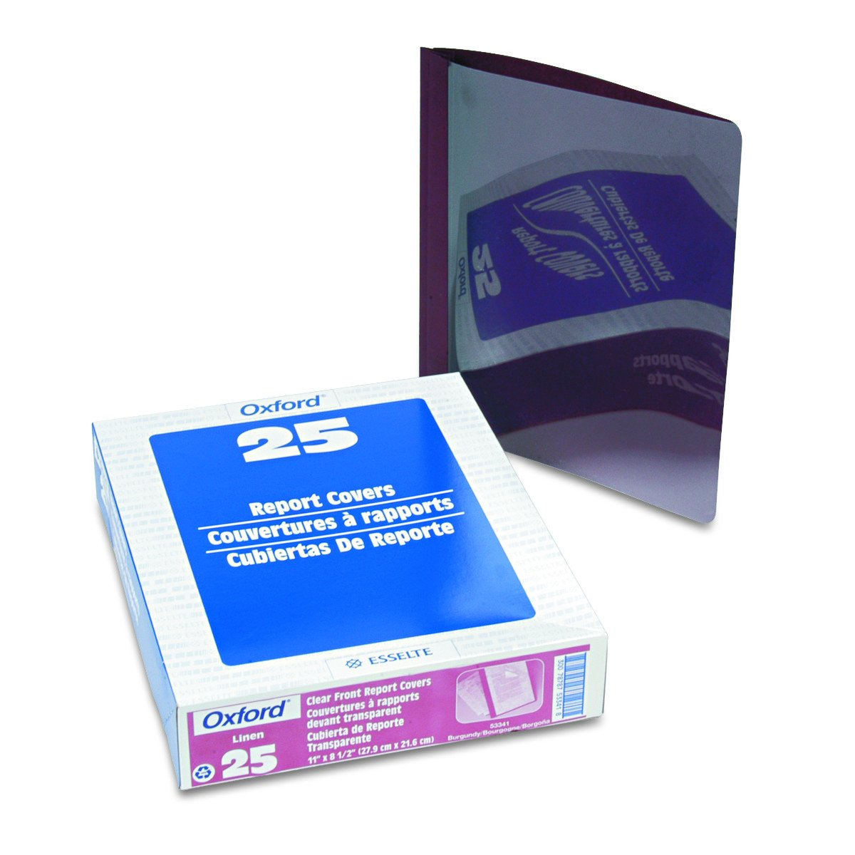 Oxford 53341 Clear Front Report Cover, 3-Prong, 1/2 Capacity, Burgundy Back Cover, 25/box