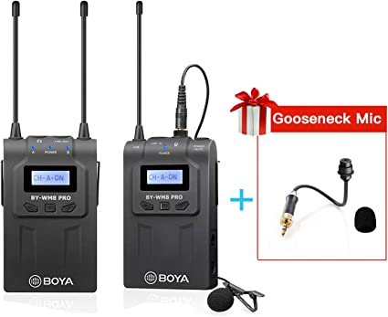 Amazon Com Uhf Wireless Lavalier Microphone For Camera Camcorder