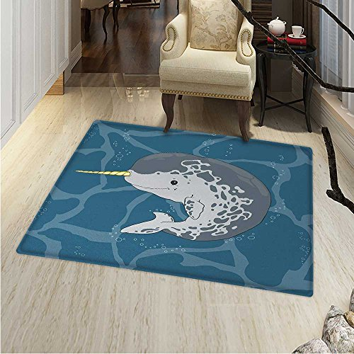 - Narwhal Rug Kid Carpet Happy Arctic Ocean Whale Horn Swimming in The Sea Cartoon Style Animal Drawing Home Decor Foor Carpe 3'x4' Multicolor