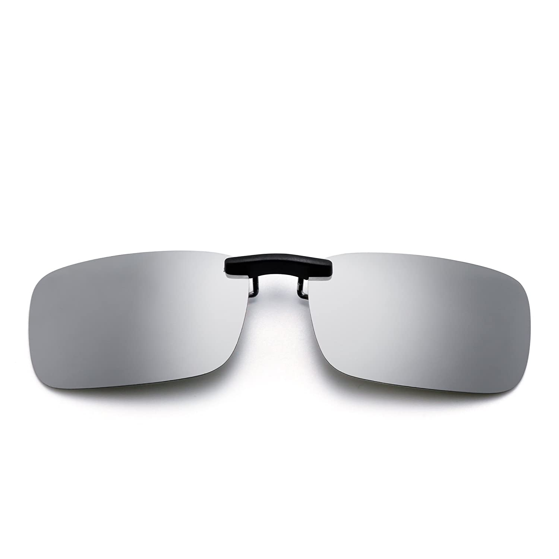 Sin B0098F3BHM marco Rectángulo Clip en Plateado Gafas de Ligero Sol ...