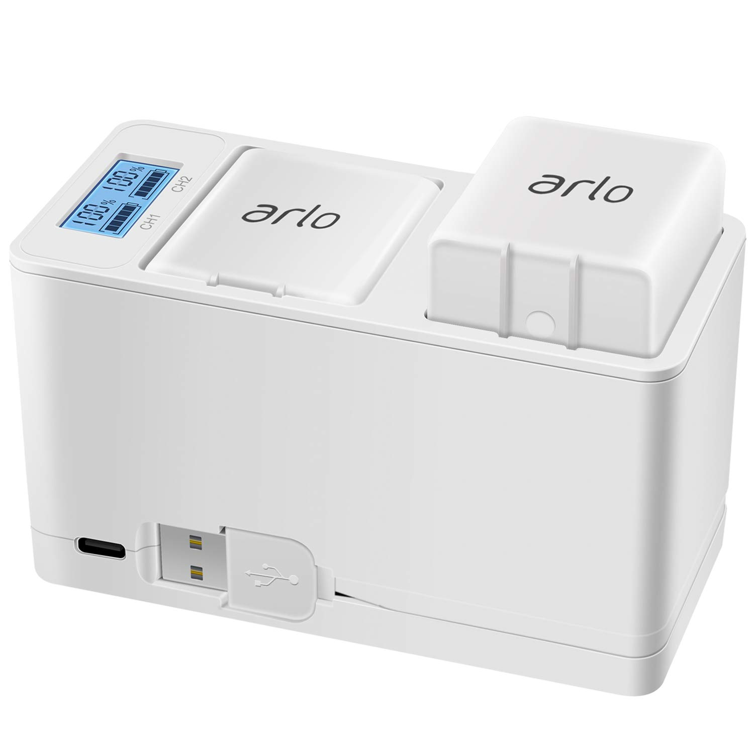 Arlo Battery Charger Station, Dual Rechargeable Batteries Charging Station for Arlo Pro/Pro 2/Go Camera with Type C Port and USB C Cable