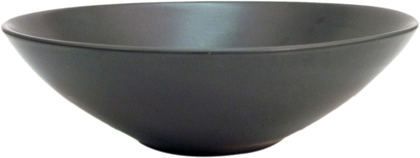 CAC China Japanese Style 8-Inch Non Glare Glaze Black Salad Bowl, Box of 12