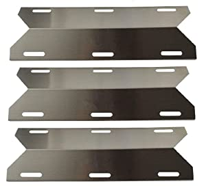 """Hongso SPA241 (3-Pack) Stainless Steel Heat Plate, Heat Shield, Heat Tent, Burner Cover Replacement for Charmglow, Costco Kirkland, Nexgrill, Sterling Forge, Lowes Model Grills (17 1/4"""" x 6 15/16"""")"""