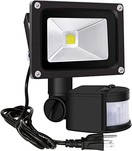 Motion Sensor Flood Lights Outdoor,10W Induction LED Lamp, IP65 Waterproof Spotlight,6500K LED Sensor Light,Security Light with US 3-Plug Daylight White-Black