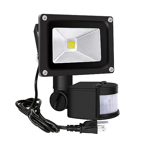 Motion Sensor Flood Lights Outdoor,10W Induction LED Lamp, IP65 Waterproof Spotlight,6500K
