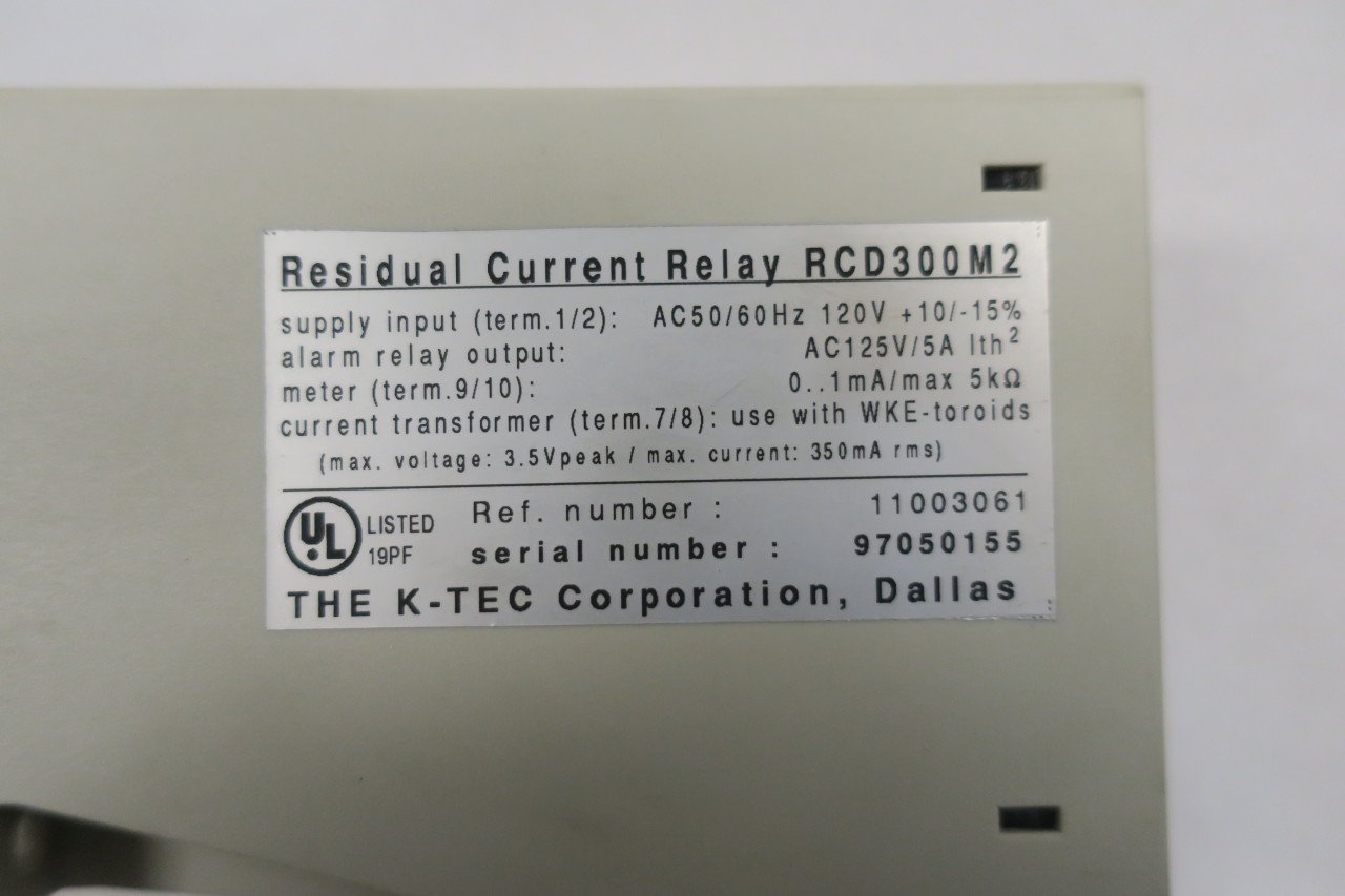 K Tec Rcd300m2 Residual Current Relay 120v Ac D584219 Alarm Industrial Scientific