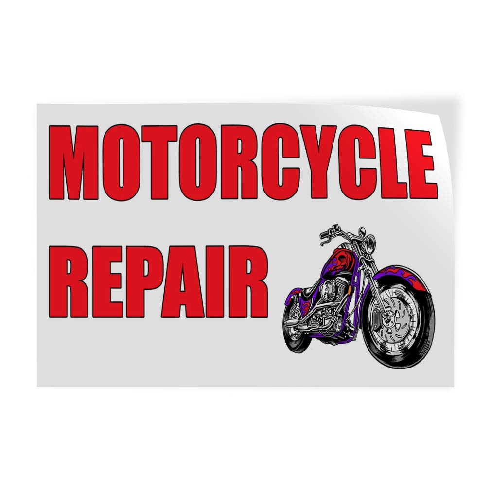 Decal Sticker Multiple Sizes Motorcycle Repair Red White Business Motorcycle Outdoor Store Sign Red Set of 10 14inx10in