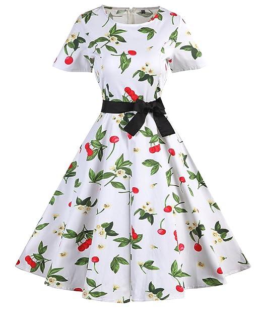 Vestidos Para Mujer De Estilo 1950 Vintage Rockabilly Retro Cóctel Fiesta Estampado de Flores Estilo5 Large