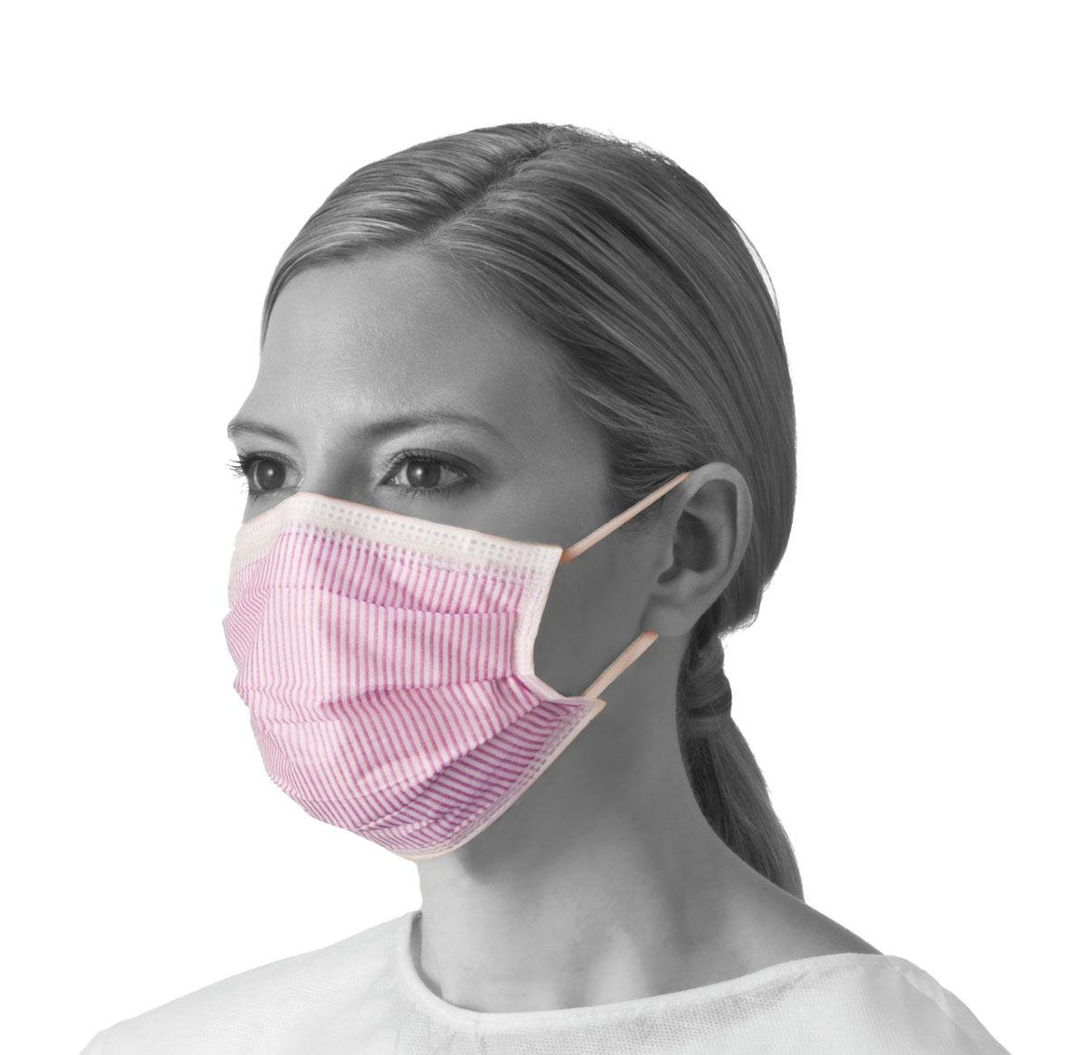 Medline NON27712EL Fluid-Resistant Procedure Face Masks with Earloop, Cellulose, Anti Fog, Latex Free, Purple and White (Pack of 300)