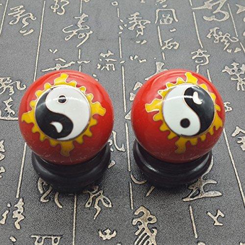 Chinois Traditionnel Ballon De Fitness Décompression Handball Rouge Motif Tai Chi 50mm450g