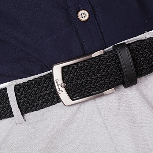 Men Belts, Elastic Braided Stretch Belt with Covered Buckle, for Jeans, Trouser Belts (Large, Black)