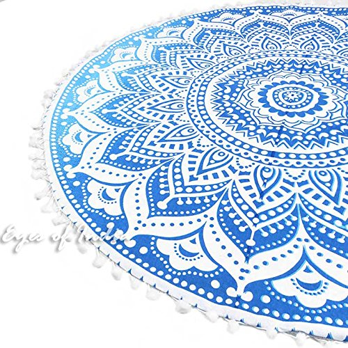 Eyes of India - 32'' Blue White Floor Meditation Pillow Cushion Seating Throw Cover Hippie Mandala Round Colorful Decorative Bohemian Indian Boho Dog bedCover Only by Eyes of India (Image #4)