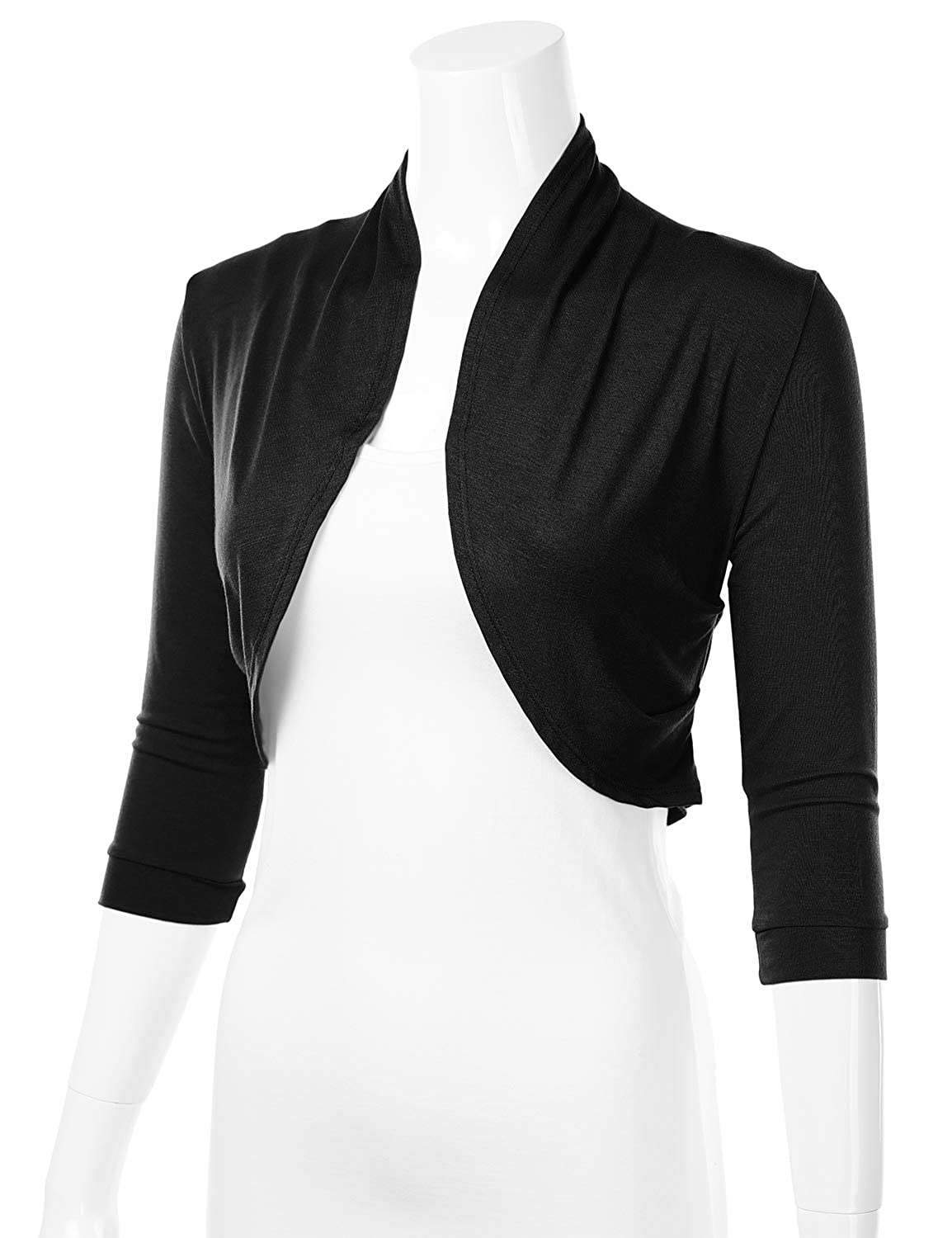 FLORIA Womens 3//4 Sleeve Open Front Cropped Bolero Shrug Cardigan with Side Pleats S-3XL