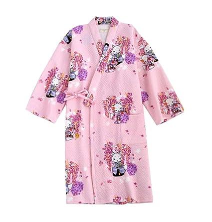 Falda de kimono pijama de algodón estilo albornoz de mujeres estilo japonés (gruesa),