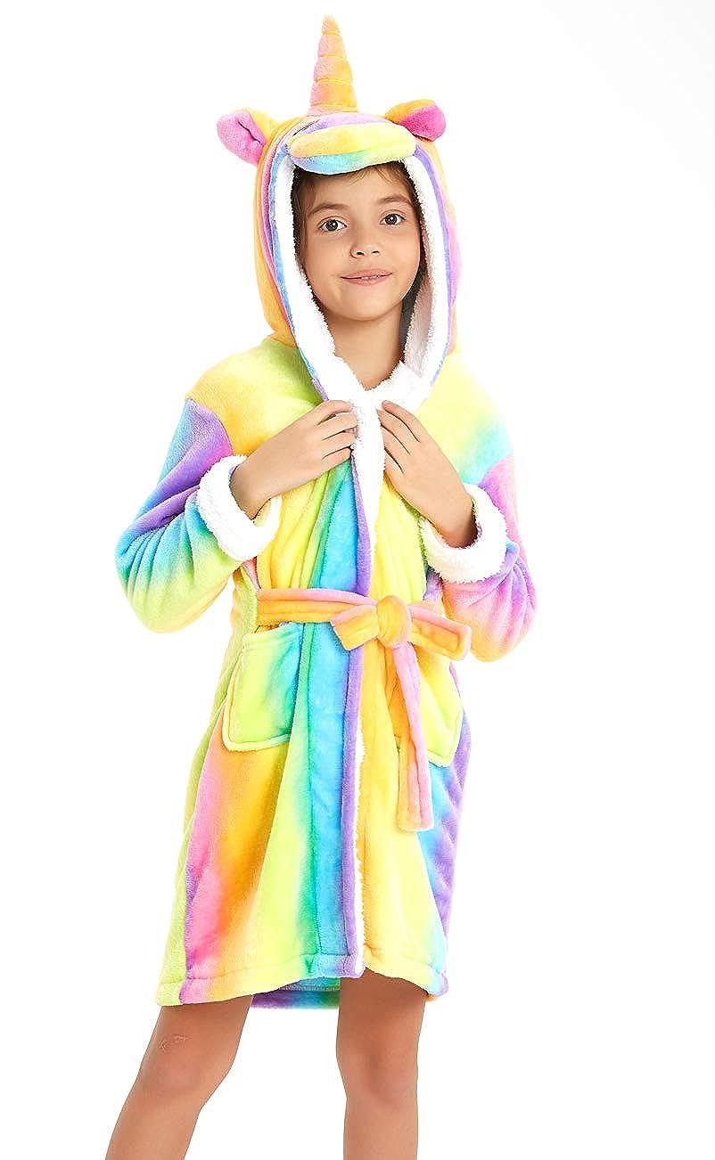 Soft Unicorn Girls Bathrobe Hoodie Unisex Hooded Gift for Girl and Boys