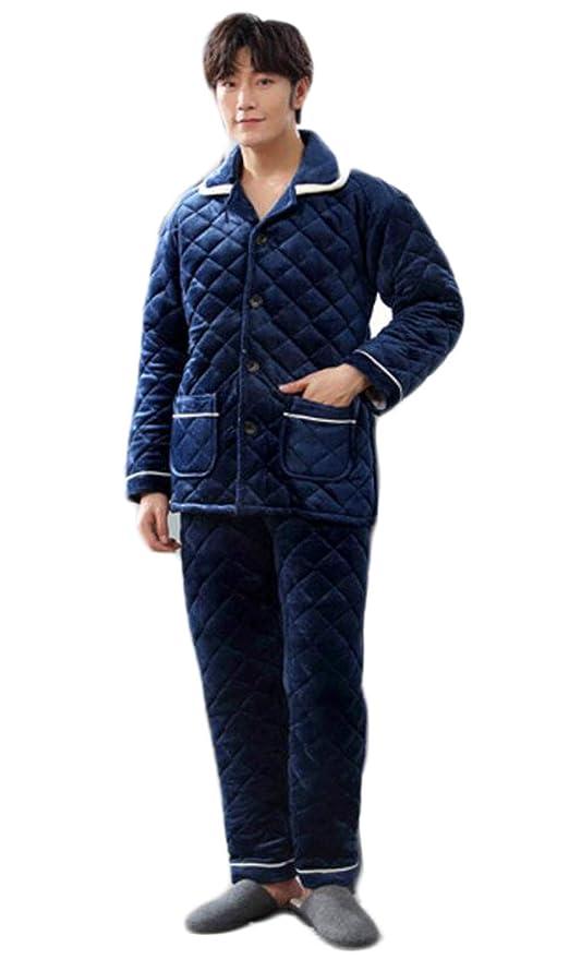 PFSYR Pijamas del Invierno de los Hombres, Bata Caliente Gruesa Acolchada de Tres Capas,