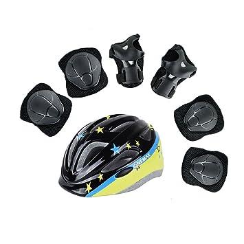 WX xin Niño Casco Patineta Patinaje Rodilleras Equipo De Protección Bicicleta 7 Piezas/Juegos (Color : 2, Tamaño : (6-10 old)): Amazon.es: Deportes y aire libre