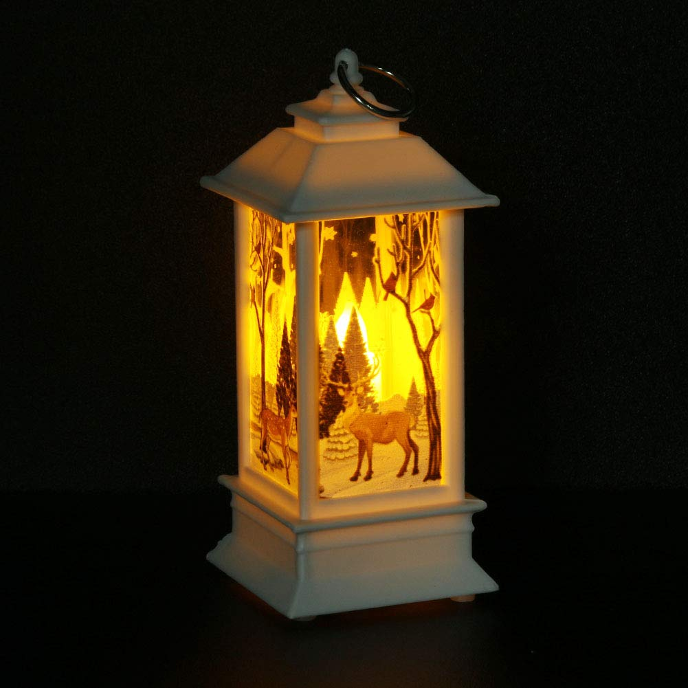 Vktech Christmas Candle Lantern Decorative Light Design Candlestick Lantern Candle Holder Decorative Lamp Hanging for Indoor&Outdoor (L White)