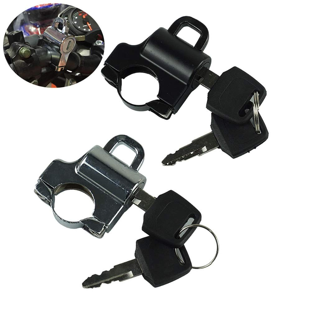 Univesal Motorcycle Helmet Lock Moto Llaves de gancho para colgar Cromado de aluminio//negro para 7//822mm Mango Bar Accesorios Accesorios de motos Color : Negro