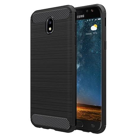 FayTun Funda para Samsung Galaxy J7 2017, Samsung Galaxy J7 2017,Carcasa Textura Fibra de Carbono Backcover Silicona Gel,Anti-Choque Ultra-Delgado ...