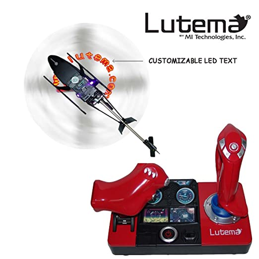 Lutema 2 4GHz Heligram Flight Simulator Remote Control Helicopter with LED  SkyText Technology, Red