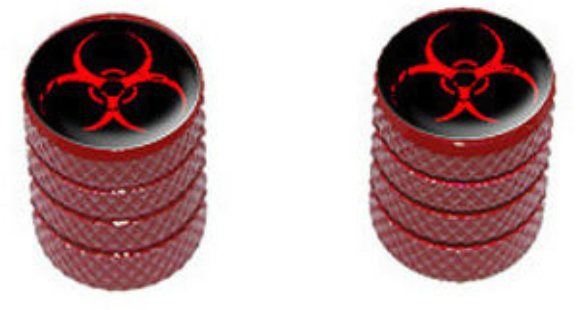 "(2 Count) Cool and Custom ""Diamond Etching Biohazard Symbol Top with Easy Grip Texture'' Tire Wheel Rim Air Valve Stem Dust Cap Seal Made of Genuine Anodized Aluminum Metal {Red and Black Colors}"