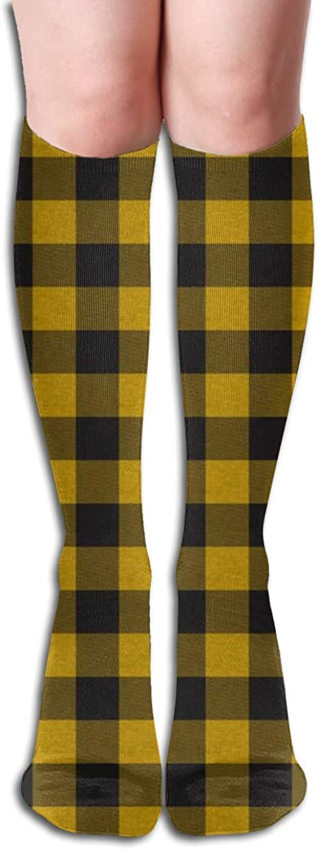 ?Gold Yellow And Black House Check Women Tube Knee Thigh