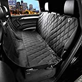 PEDY Luxury Pet Seat Cover for Cars - Dog Car Seat Cover With Anchors - Trucks - and Suv's - Black - Waterproof & Hammock Convertible
