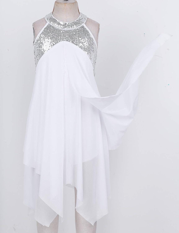 CHICTRY Kids Big Girls Halter Sequins Lyrical Latin Dance Figure Skating Costume Dresses Irregular Ruffles Skirt Leotard