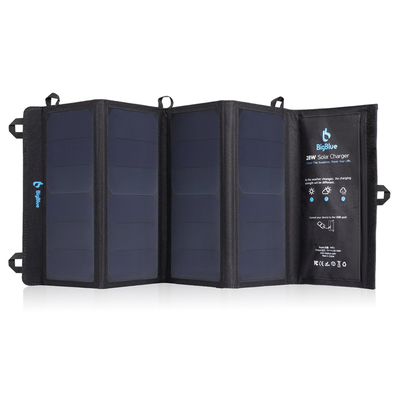 BigBlue 3 USB Ports 28W Solar Charger, 5V Foldable Waterproof Outdoor Solar Battery Charger with SunPower Solar Panel for iPhone 8/X/7/6s, iPad Pro/Air 2/Mini, Samsung Galaxy LG Cellphones and More