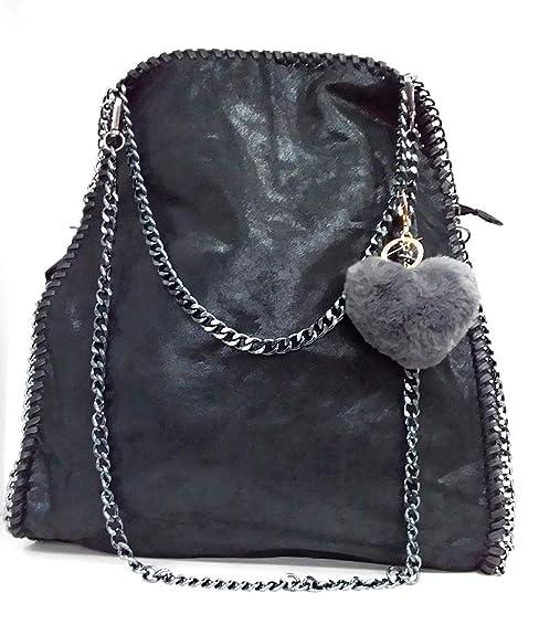 Anush Borsa a mano VIVIEN Leatherlook Borse a spalla da donna con catena nero 01