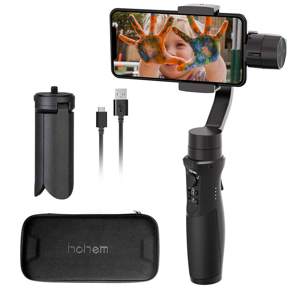 Hohem iSteady Mobile+, 3-Axis Handheld Gimbal Stabilizer for Smartphones, iPhone Smartphone Gimbal, for iPhone Xs Max Xr X 8 Plus Android Smartphone Samsung Galaxy S9+ S8+ S7 S6 [New Launch in 2019]