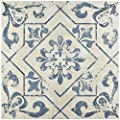 "SomerTile FCC18LTC Otto Ceramic Floor and Wall Tile, 17.75"" x 17.75"", Blue"