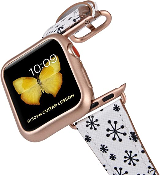Amazon Com Jsgjmy Compatible With Apple Watch Band 38mm 40mm With Case Women Genuine Leather With Rose Gold Adapter And Buckle For Iwatch Series 5 4 3 2 1 Snowflake Printed