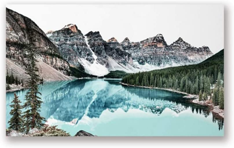 "Wall Art Mountain Landscape Print Teal Poster Water Reflection Nature Photography Wall Picture Home Decor Canvas Painting 60x90 cm/23.6"" x 35.4""x1 No Frame"