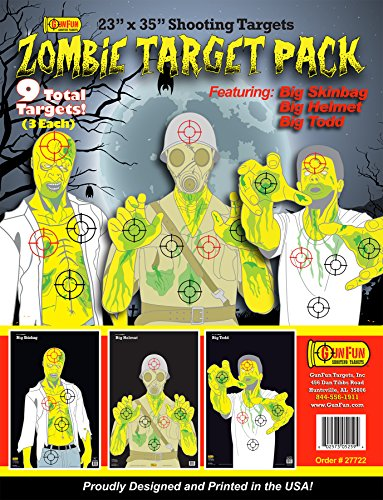 GunFun 23 x 35 Zombie Target Pack (Paper Targets For Bb Guns)