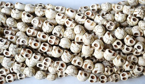 Day Of The Dead Beads - 10 Bone White Howlite Skull Beads (Loose) - Day of the Dead (Dia De Los Muertos)