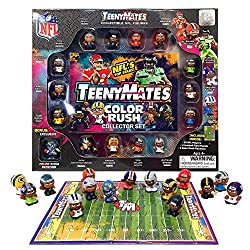 """TeenyMates 15 Piece NFL Color Rush 2019 Collector Set Each mini 1"""" NFL Color Rush figure features the name, number, and TeenyMates-style likeness of real NFL players!  Inside the Collector Set:  14 collectible 1"""" NFL TeenyMates in Color Rush uniforms..."""
