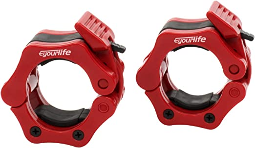 Eyourlife2 Pair Quick Release Olympic Barbell Clamp Locking Collar with Carrying Case Workout Pro Secure Snap Latch for Squat Weightlifting//Power Lifting Training