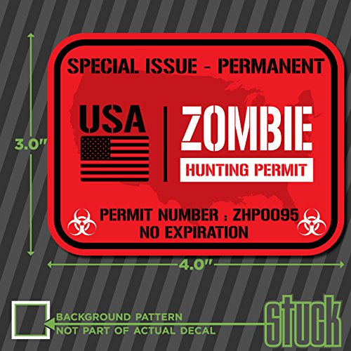 "USA Zombie Hunting Permit - 4"" x 3"" - vinyl decal sticker hunt horror protect"