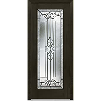 National Door Company ZA06848L Fiberglass Mahogany Cadence Decorative Glass  Full Lite Espresso Left Hand Prehung In
