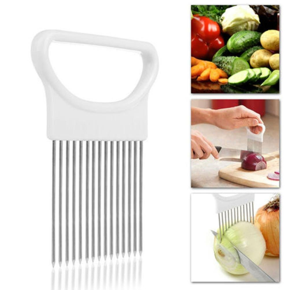 Hot Sale! AMA(TM) Tomato Onion Vegetables Slicer Cutting Aid Holder Guide Slicing Cutter Safe Fork (White)
