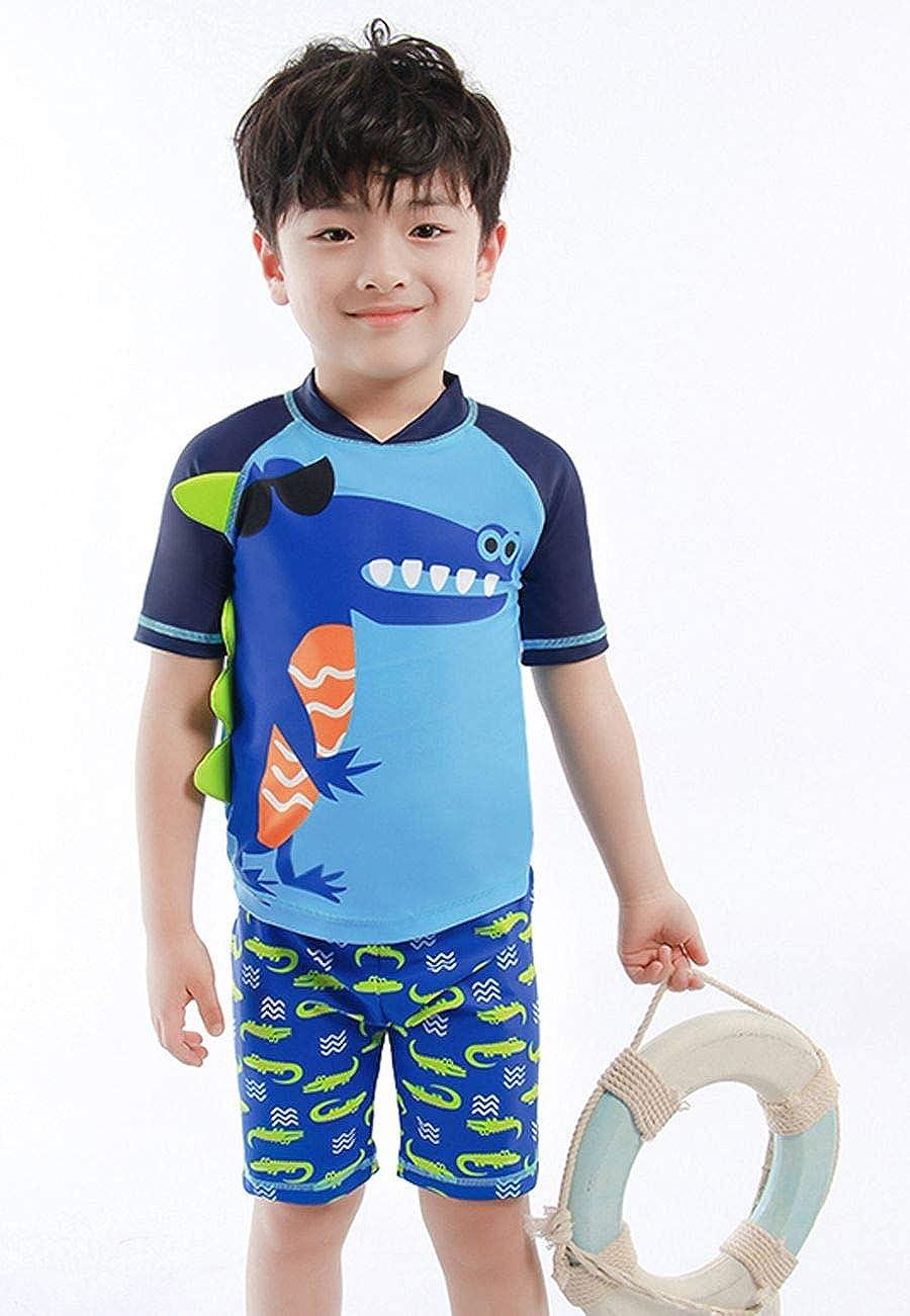 Crocodile Baby Toddler Boys Two Piece Rash Guard Swimsuits Kids Short Sleeve Sunsuit Swimwear Sets with Hat UPF 50