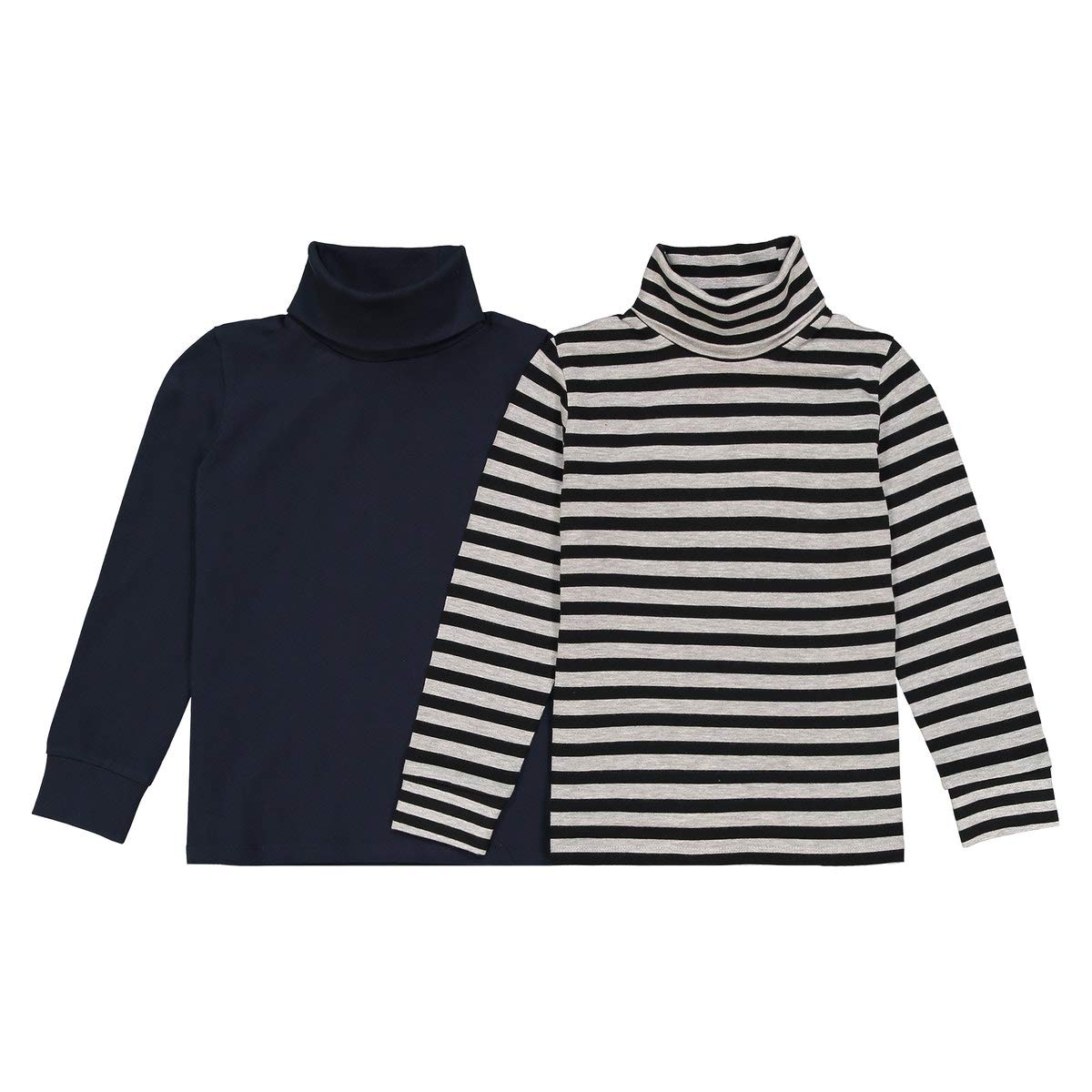 La Redoute Collections Pack of 2 Striped/Plain Polo-Neck Tops, 3-12 Years Blue Size 8 Years (126 cm)