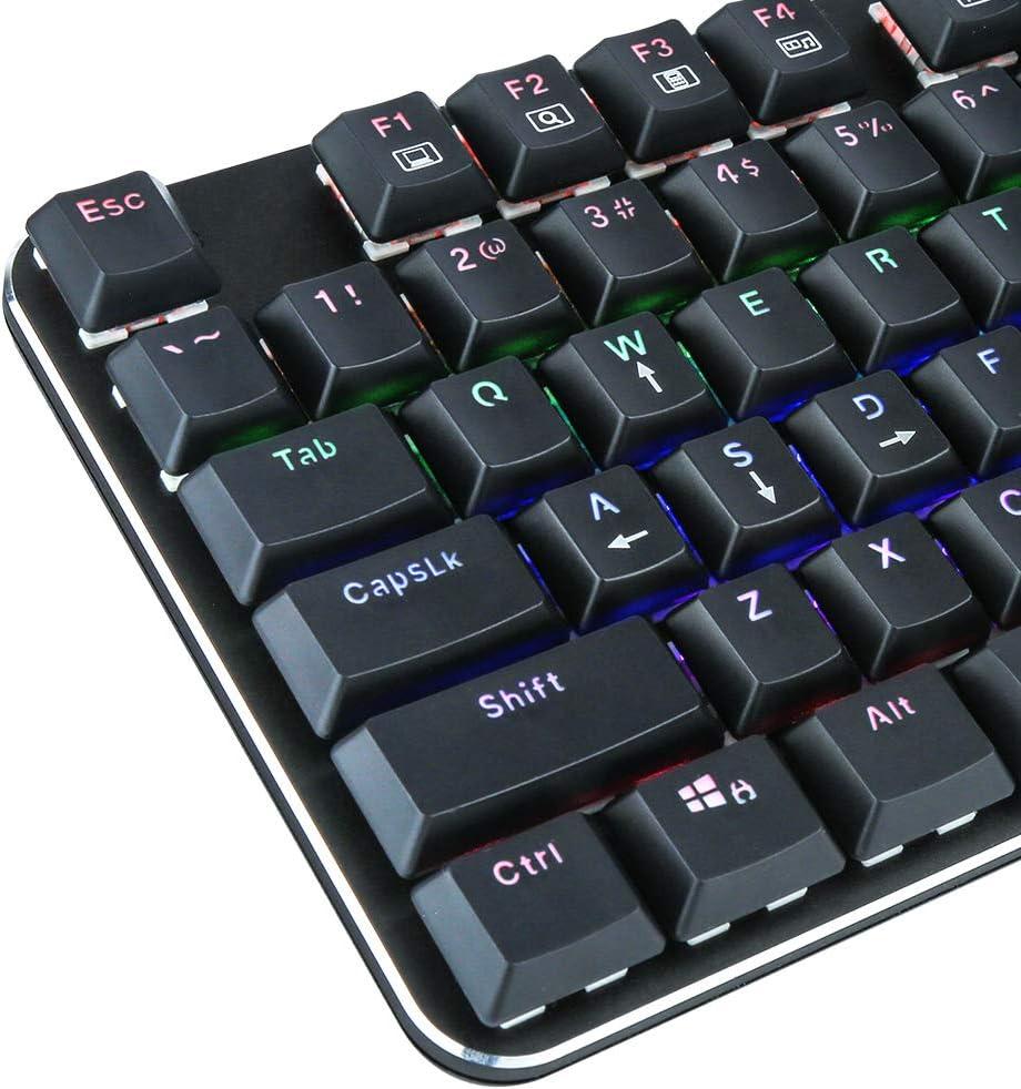E-YOOSO K630 Teclado mecánico para juegos súper delgado, teclado compacto de 87 teclas con interruptores azules, diseño de EE.UU.