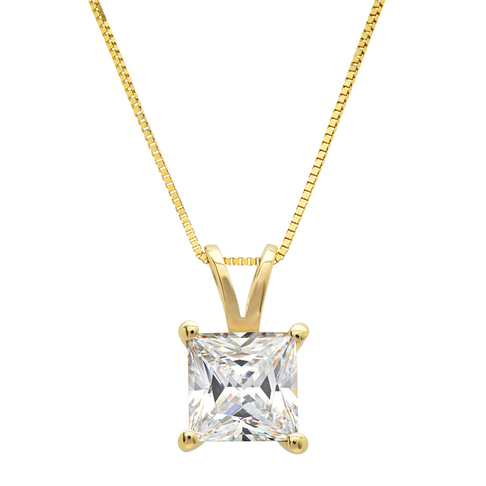 Clara Pucci 1.0 CT Princess Cut Simulated Diamond CZ Solid 14K Yellow Gold Solitaire Pendant Box Necklace 16'' Chain