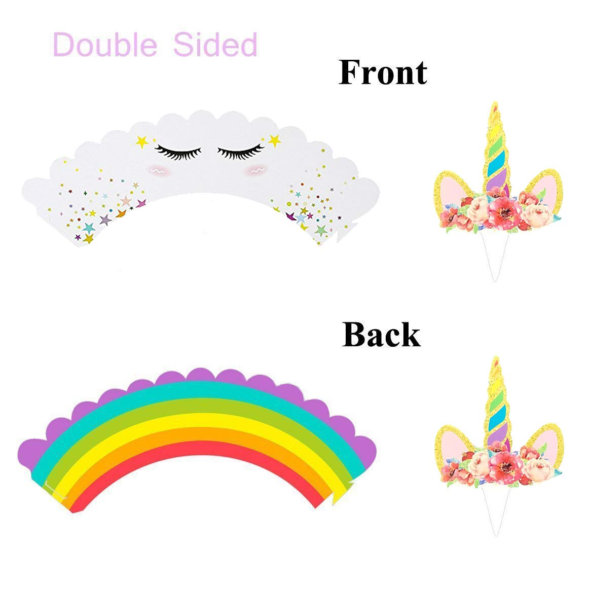 Rainbow Unicorn Cupcake Toppers and Wrappers w BONUS Gold Cupcake Stand - Themed Glitter Horn Cake Topper + Rainbow Wrapper DIY Baking Decorations Kit, Kids Birthday Party Supplies Accessories| 48pcs by Quality Party Supplies (Image #2)
